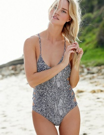 Sexy Gray Hollow Out Decorated Simple Round Neck Swimwear