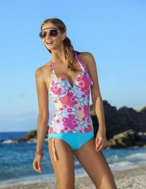 Fashion Blue Painted Design Simple Swimwear