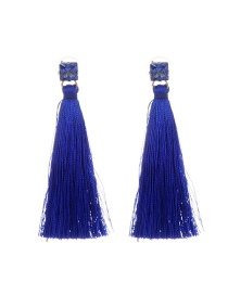 Bohemia Royalblue Square Shape Diamond Decorated Simple Tassel Long Earrings