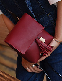 Fashion Claret Red Tassel Pendant Decorated Pure Color Shoulder Bag