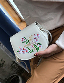 Fashion Beige Embroidery Flower Decorated Simple Shoulder Bag
