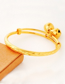 Lovely Gold Color Flower Pattern Decorated Simple Pure Color Baby Bracelet