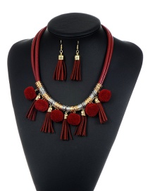 Bohemia Claret-red Long Tassel Pendant Decorated Simple Pom Neckalce