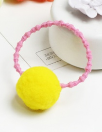 Lovely Yellow Fuzzy Ball Decorated Color Mathcing Hair Band
