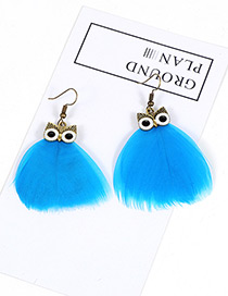 Vintage Blue Owl Shape Design Simple Pure Color Earrings