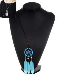 Bohemia Blue Feather Pendant Decorated Necklace