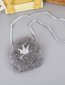 Lovely Gray Crown Decorated Pure Color Shoulder Bag