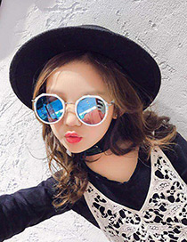 Lovely Blue Pure Color Decorated Anti-ultraviolet Children Sunglasses