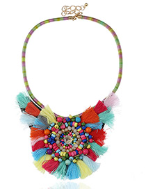 Fashion Multi-color Flower Decorated Color Matching Pom Necklace