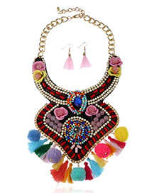 Fashion Multi-color Tassel&fuzzy Ball Decorated Irregular Shape Jewelry Sets