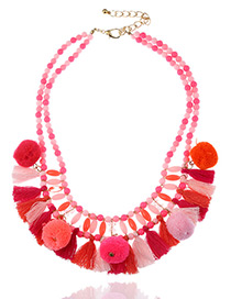 Fashion Pink Tassel&fuzzy Ball Decorated Double Layer Pom Necklace