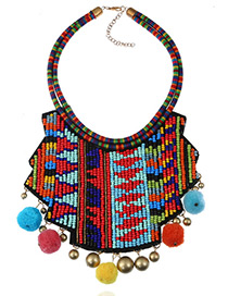 Fashion Multi-color Bells&fuzzy Ball Decorated Irregular Shape Pom Necklace