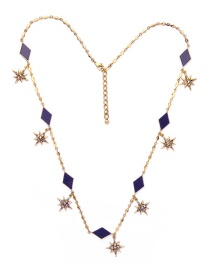 Fashion Blue Star&gemstone Decorated Simple Necklace