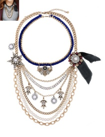 Fashion Gold Color Pearls&diamond Decorated Multi-layer Necklace
