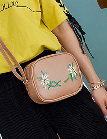 Fashion Khaki Embroidery Flower Decorated Simple Shoulder Bag