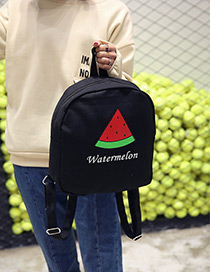 Fashion Black Watermelon Pattern Decorated Simple Backpack
