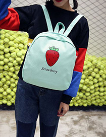 Fashion Green Strawberry Pattern Decorated Simple Backpack