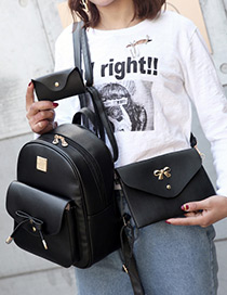 Fashion Black Bowknot Decorated Pure Color Backpack(3pcs)