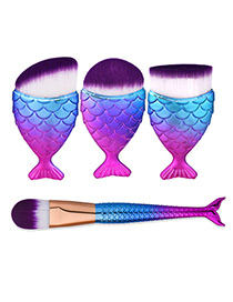 Trendy Blue+plum Red Color Matching Decorated Mermaid Makeup Brush(4pcs)