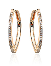 Fashion Gold Color Diamond Decorated Pure Color Simple Earrings