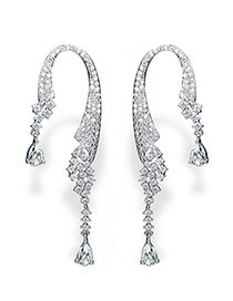 Fashion Silver Color Pure Color Decorated U Shape Earrings