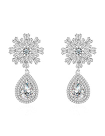 Fashion Silver Color Flower Decorated Pure Color Earrings