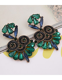 Exaggerated Green Owl Shape Decorated Color Matching Earrings