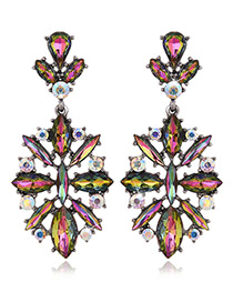 Exaggerated Multi-color Geometric Shape Diamond Decorated Color Matching Earrings