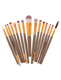 Fashion Brown Color Matching Decorated Makeup Brush(15pcs)