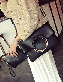 Fashion Black Circular Ring Decorated Pure Color Handbag(2pcs)