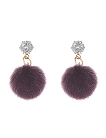 Fashion Purple Fuzzy Ball Decorated Pure Color Pom Earrings