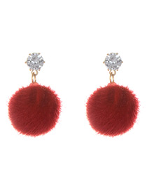 Fashion Red Fuzzy Ball Decorated Pure Color Pom Earrings