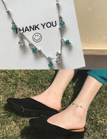 Fashion Green Diamond Decorated Color Matching Anklet