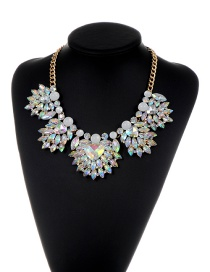 Fashion Multi-color Heart Shape Diamond Decorated Color Matching Necklace