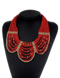 Fashion Red Beads Decorated Pure Color Multi-layer Necklace