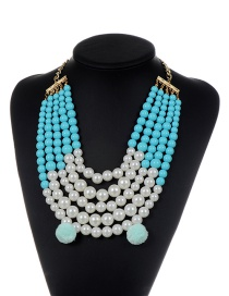 Fashion Blue Pearls&fuzzy Balls Decorated Multi-layer Pom Necklace