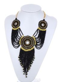 Fashion Black Beads Decorated Long Tassel Design Necklace