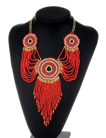 Fashion Red Beads Decorated Long Tassel Design Necklace