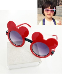 Fashion Red Mouse Shape Decorated Color Matching Sunglasses