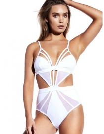 Fashion White Pure Color Decorated Hollow Out Swimsuit