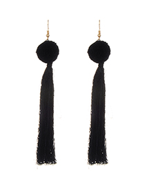 Fashion Black Long Tassel Decorated Pure Color Earrings