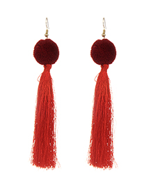 Fashion Red Long Tassel Decorated Pure Color Earrings