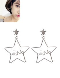 Fashion Silver Color Stars Decorated Pure Color Earrings