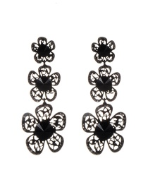 Fashion Black Flowers Decorated Hollow Out Simple Earrings