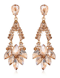 Exaggerated Champagne Square Shape Gemstone Decorated Pure Color Earrings