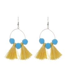 Fashion Yellow Tassel&fuzzy Ball Decorated Simple Pom Earrings