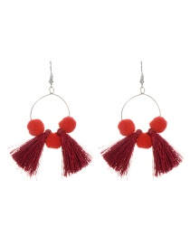 Fashion Red Tassel&fuzzy Ball Decorated Simple Pom Earrings
