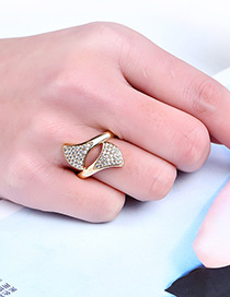 Fashion Gold Color Leaf Shape Decorated Pure Color Ring