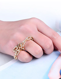 Fashion Gold Color Chains Decorated Pure Color Simple Ring