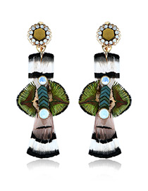 Fashion Multi-color Diamond&feather Decorated Color Matching Earrings